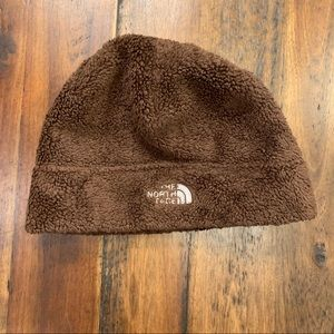 The North Face classic brown fleece beanie